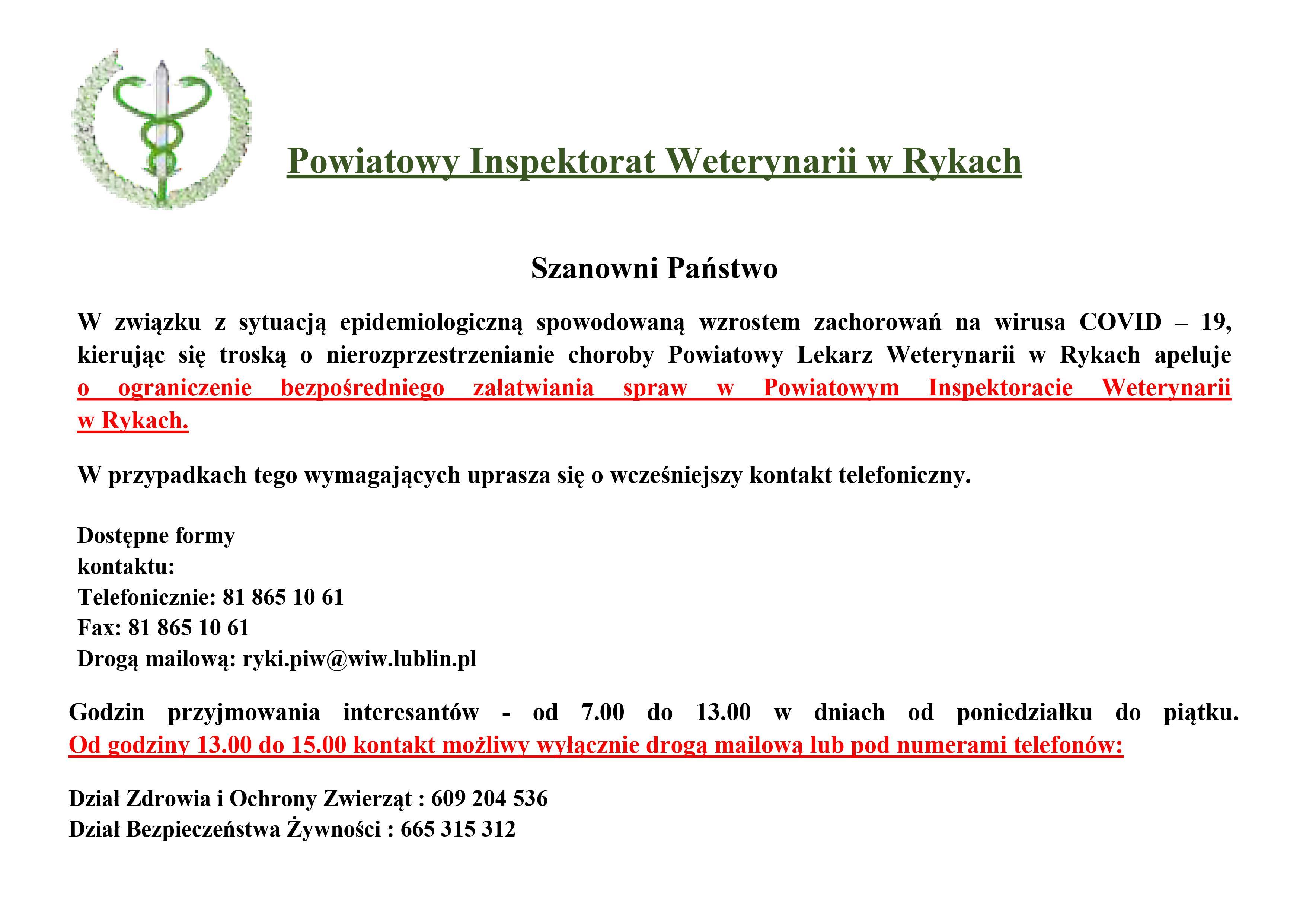 Ograniczenie wizyt w PIW Ryki